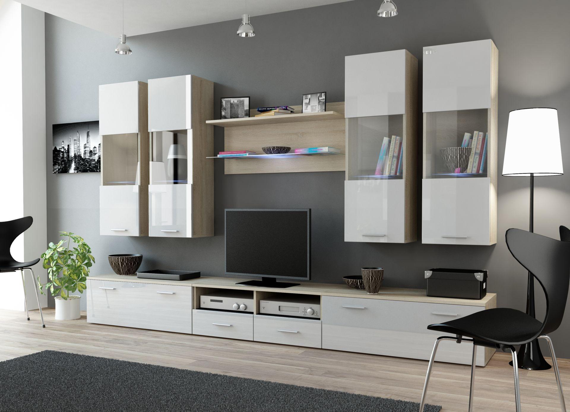 wohnwand dream 1 anbauwand wohnzimmer möbel - sonoma eiche + weiß