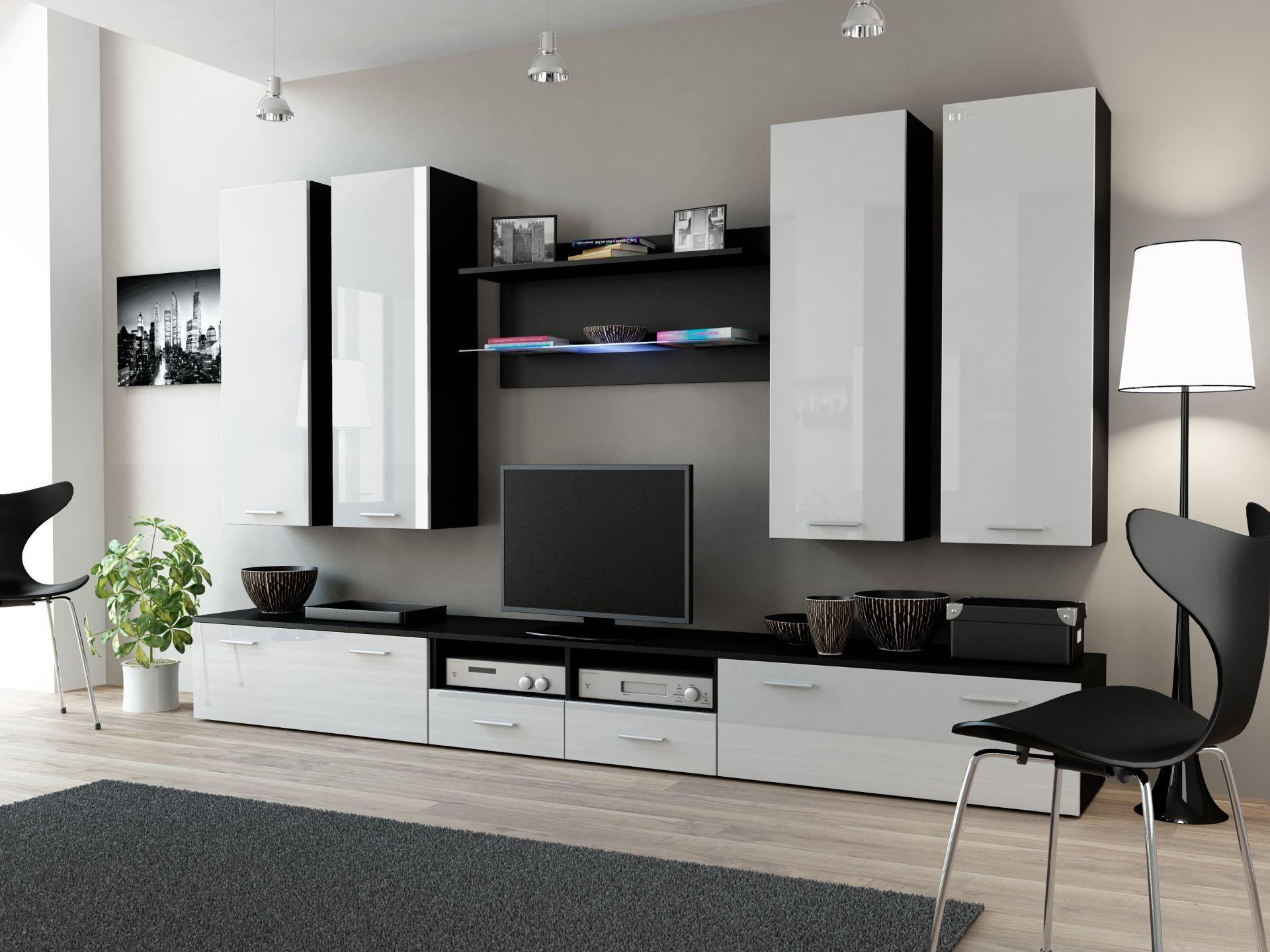 Wohnwand dream 3 anbauwand wohnzimmer m bel schwarz matt for Wohnwand schwarz matt