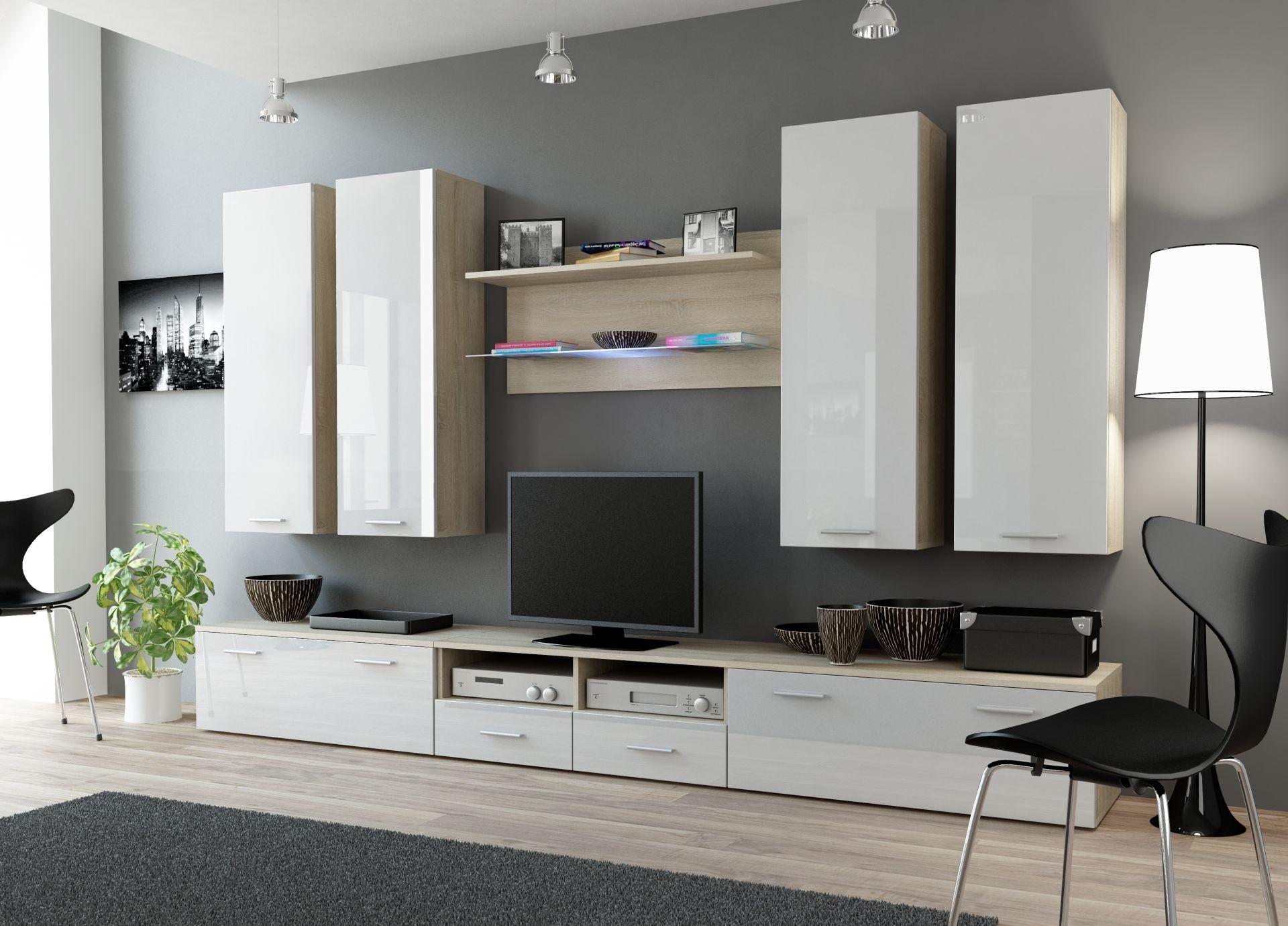 Details zu Wohnwand DREAM 3 Anbauwand Wohnzimmer Möbel  sonoma eiche