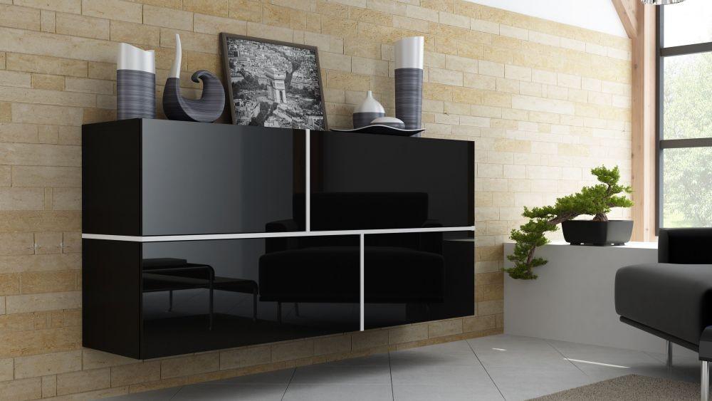 h nge kommode sideboard schrank goya schwarz schwarz hochglanz wei ebay. Black Bedroom Furniture Sets. Home Design Ideas