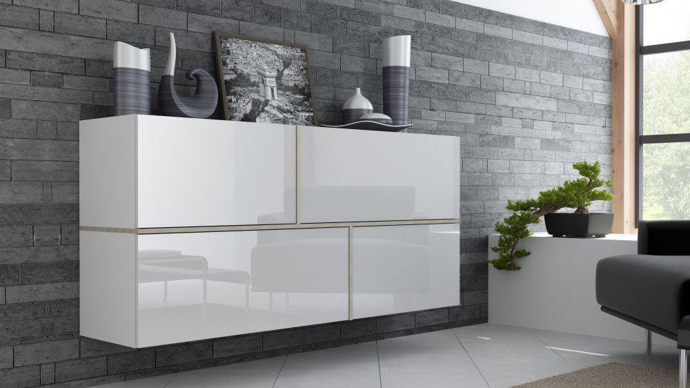 h nge kommode sideboard schrank goya wei wei hochglanz sonoma eiche ebay. Black Bedroom Furniture Sets. Home Design Ideas