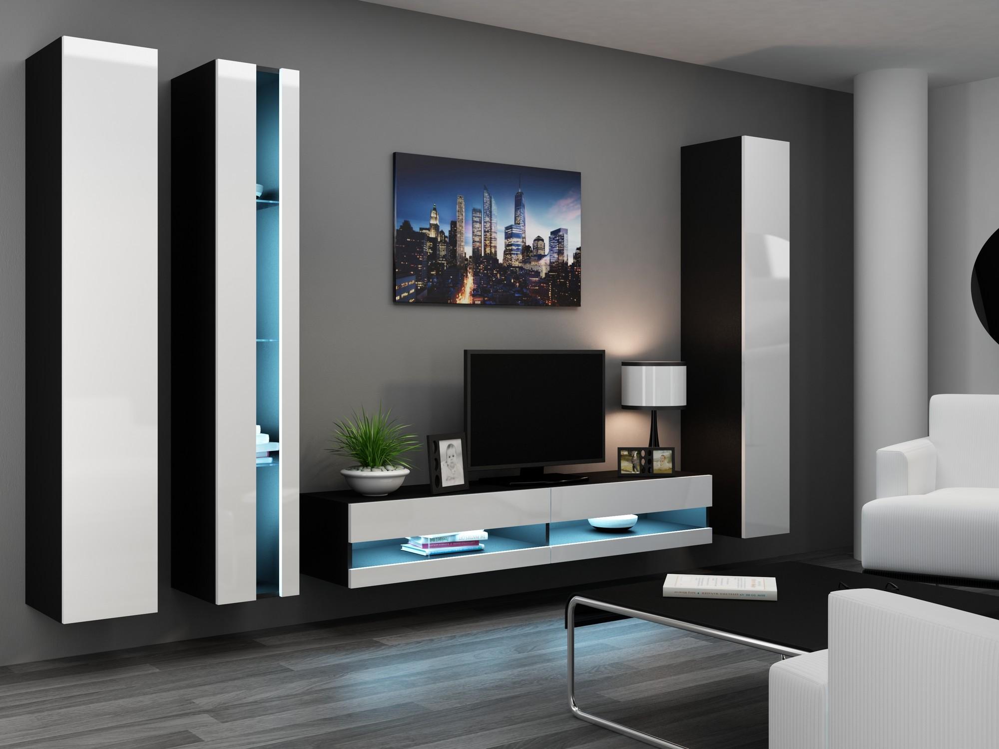 wohnwand anbauwand vigo in mdf hochglanz pusch click farbauswahl ebay. Black Bedroom Furniture Sets. Home Design Ideas