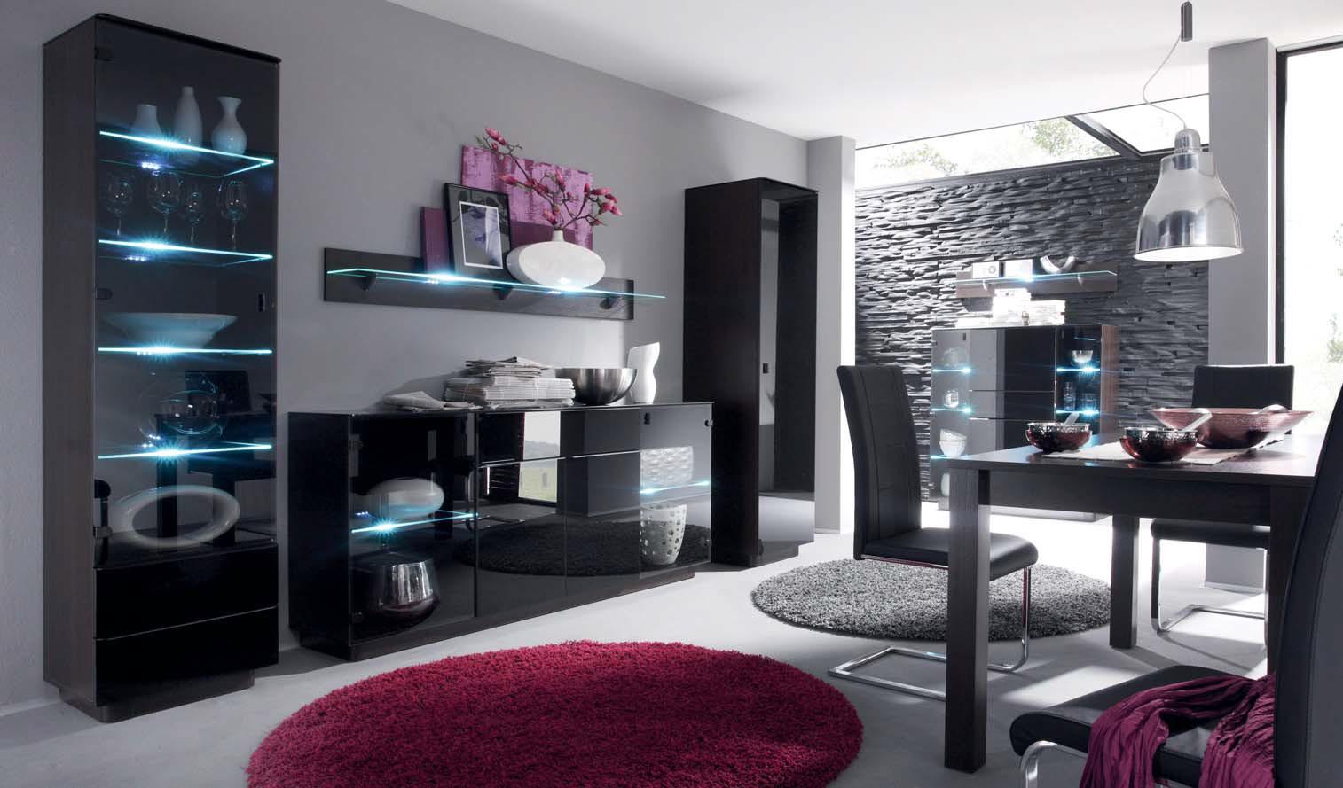 kommode sideboard togo mit led mit schwarz glas ebay. Black Bedroom Furniture Sets. Home Design Ideas