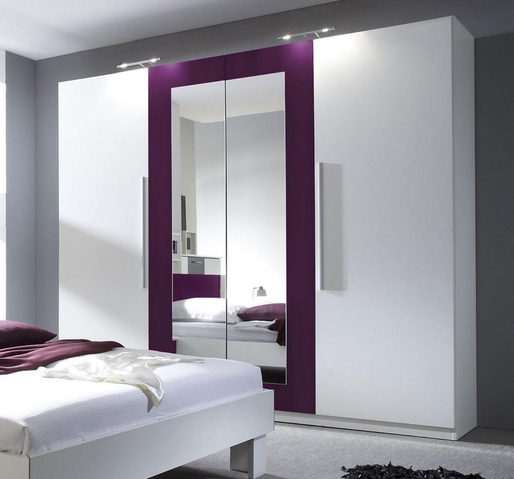 Kleiderschrank WERA Schlafzimmerschrank Mit Spiegel, Weiß