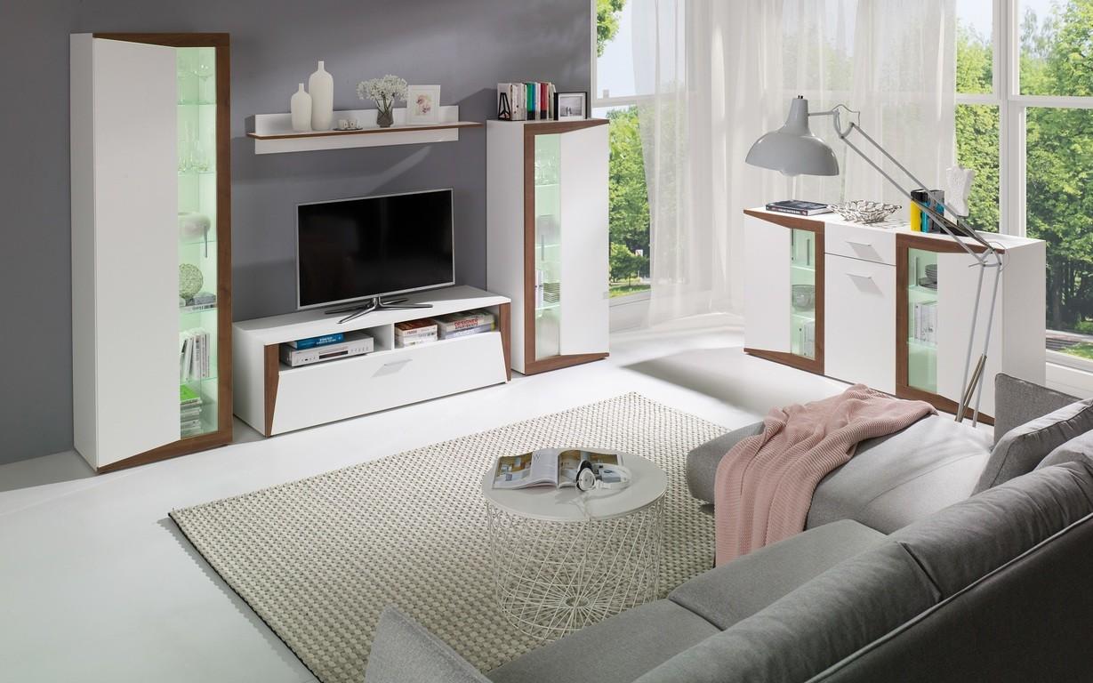 wohnzimmer set piano wohnwand vitrine sideboard tv schrank ebay. Black Bedroom Furniture Sets. Home Design Ideas