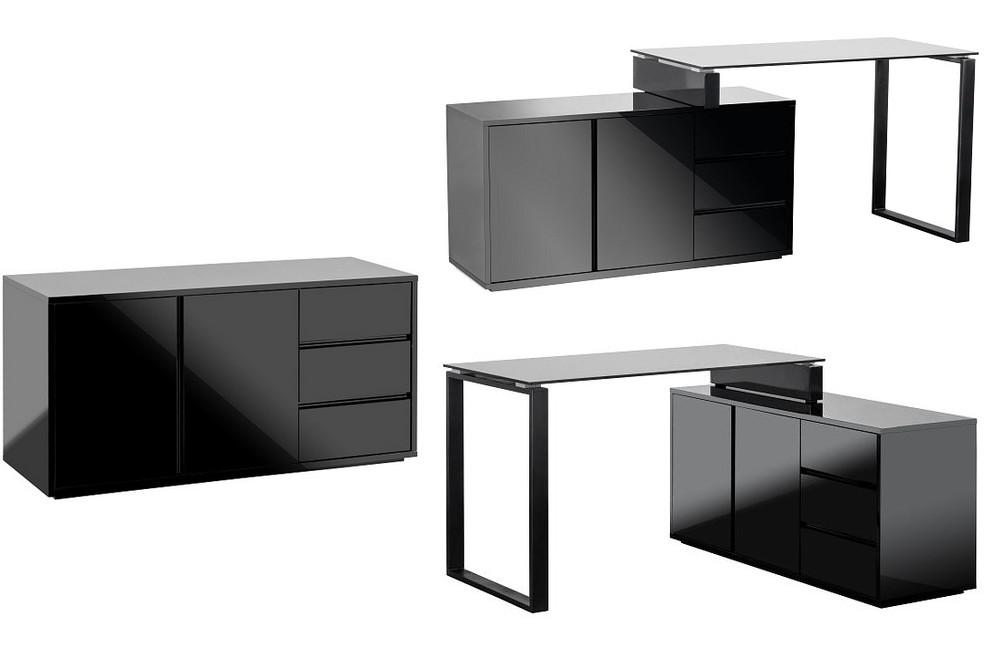 schreibtisch b rotisch mit kommode marin schwarz hochglanz lack ebay. Black Bedroom Furniture Sets. Home Design Ideas