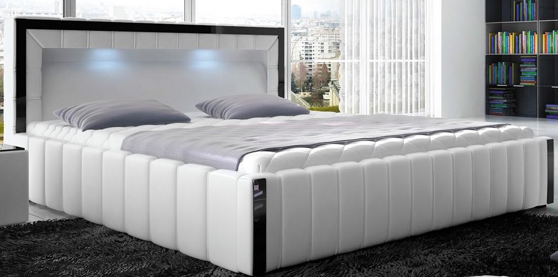 bett polsterbett forio 160x200 mit led bettkasten. Black Bedroom Furniture Sets. Home Design Ideas