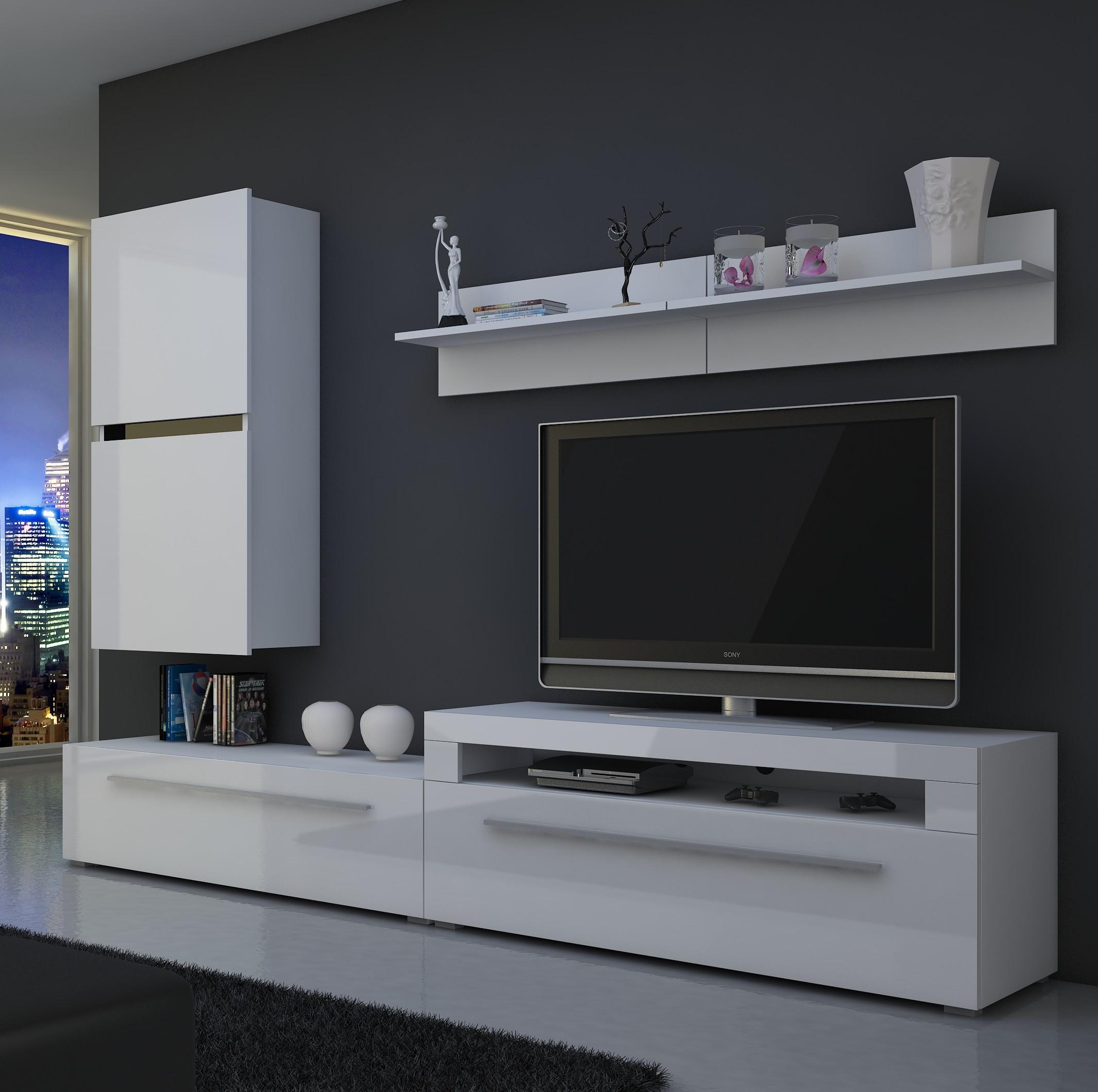 moebel24 pl wohnwand bonn hochglanz mit beleuchtung. Black Bedroom Furniture Sets. Home Design Ideas
