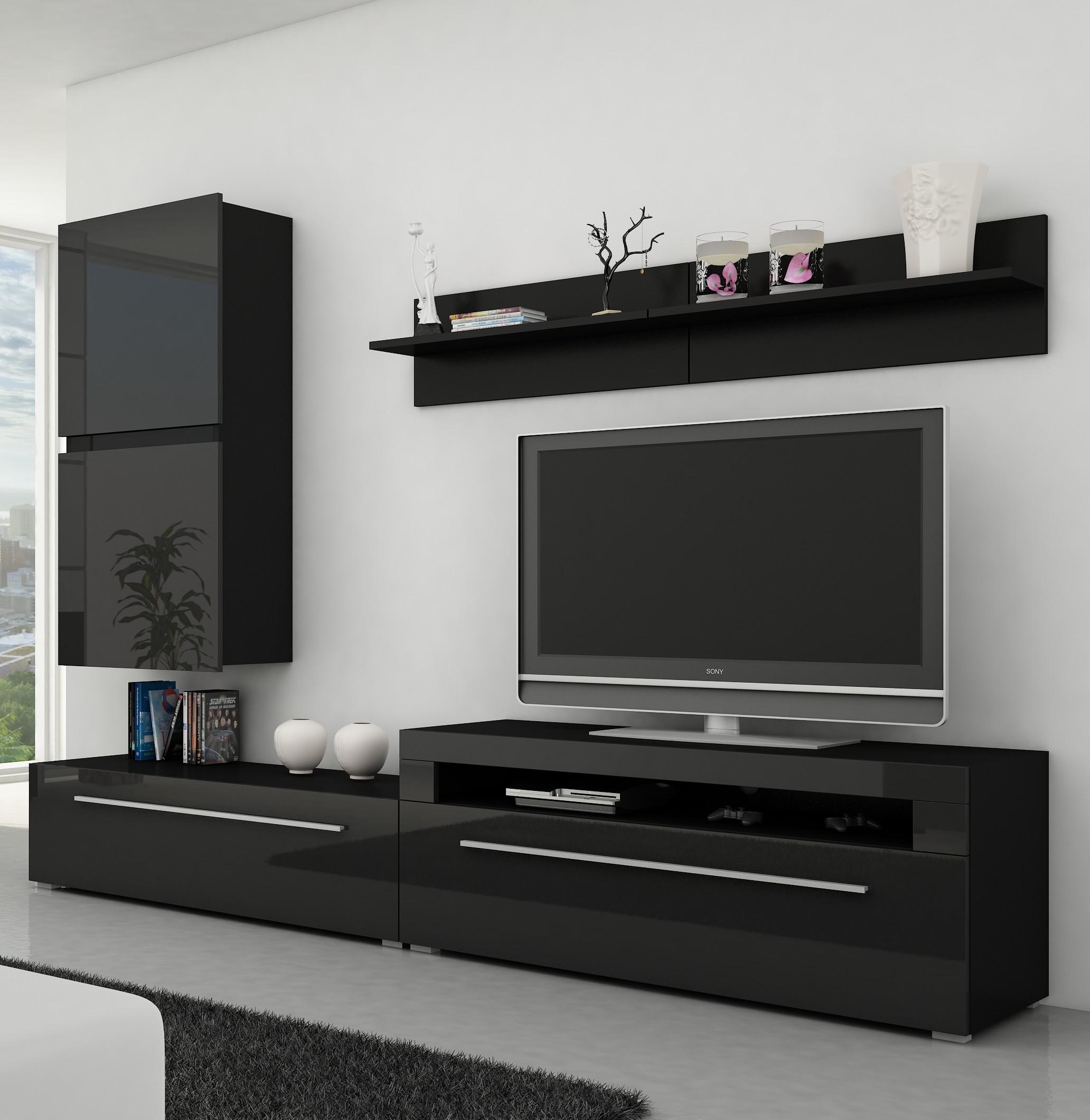 moebel24 pl wohnwand bonn hochglanz mit beleuchtung ebay. Black Bedroom Furniture Sets. Home Design Ideas