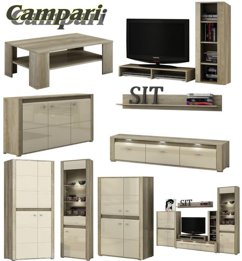 tv schrank wandregal campari mit beleuchtung ebay. Black Bedroom Furniture Sets. Home Design Ideas