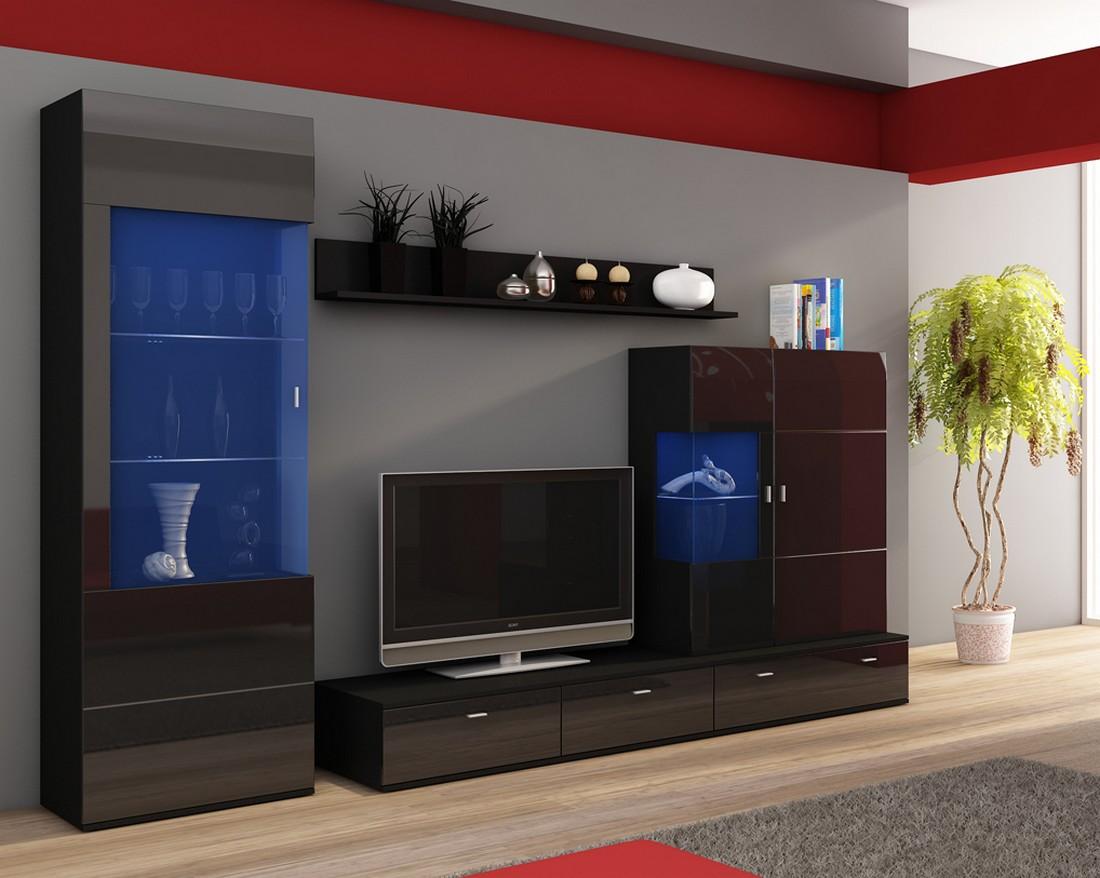 wohnwand life anbauwand wohnzimmer m bel pflaume schwarz ebay. Black Bedroom Furniture Sets. Home Design Ideas