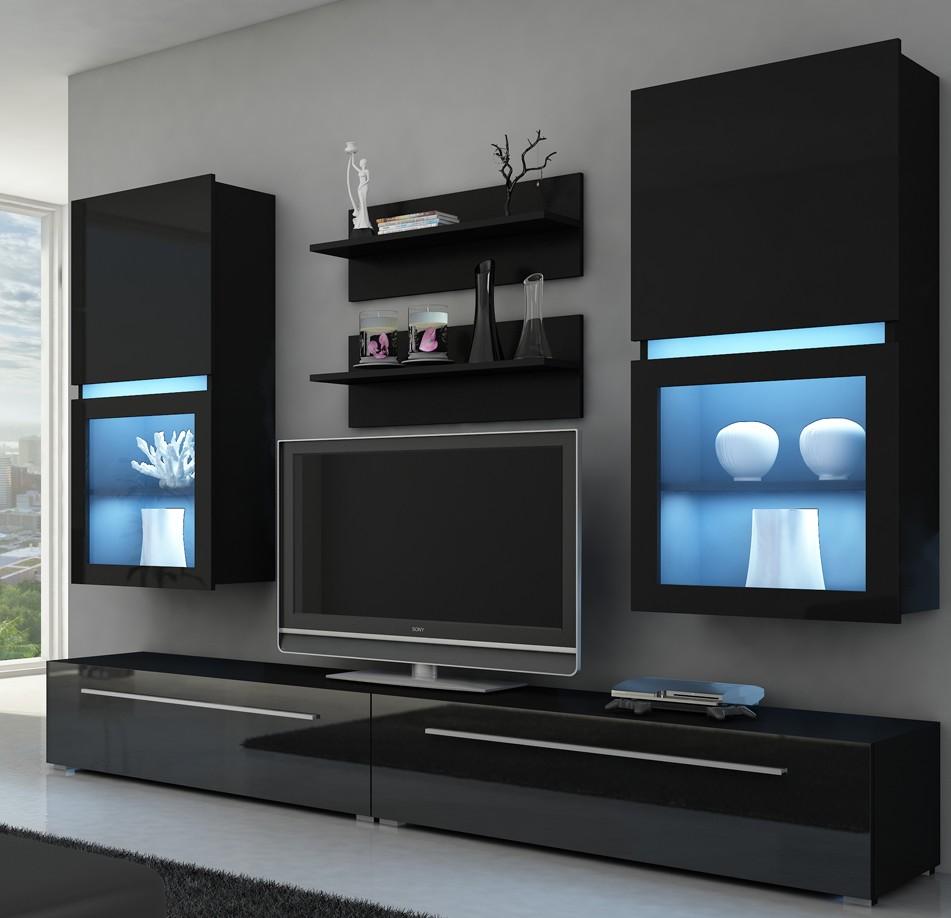 moebel24 pl wohnwand kassel mit led beleuchtung. Black Bedroom Furniture Sets. Home Design Ideas