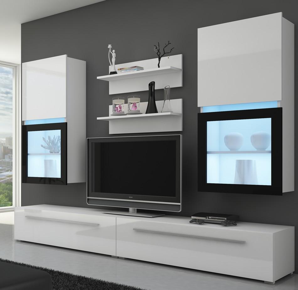 moebel24 pl wohnwand kassel mit led beleuchtung hochglanz ebay. Black Bedroom Furniture Sets. Home Design Ideas