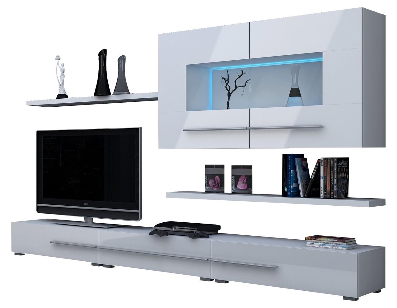 wohnwand k ln mit led beleuchtung glanz. Black Bedroom Furniture Sets. Home Design Ideas