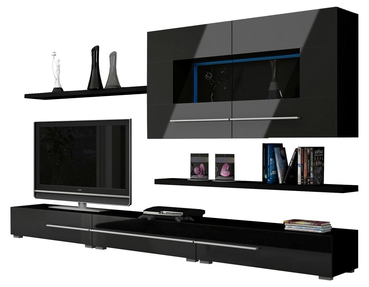 wohnwand k ln mit led beleuchtung glanz ebay. Black Bedroom Furniture Sets. Home Design Ideas